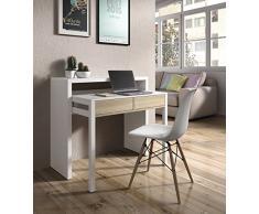Habitdesign 0F4582BO - Mesa escritorio extensible, mesa estudio consola, color Blanco Brillo y Roble Canadian, medidas: 98,5x87,5x36- 70 cm de fondo