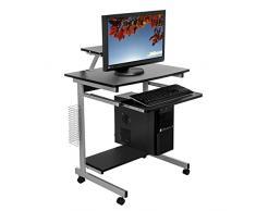 Harima - Mesa Esquinera para Ordenador Mueble Torre Escritorio Oficina Capilano Profesional en color Negro con estante extraíble para el teclado Inicio PC de escritorio con Ruedas