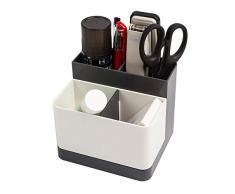 Organizador de escritorio para suministros de oficina multifución caja de almacenaje contenedor de lapices accesorios de escritorio hogar oficina (Gris oscuro)