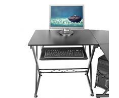Harima - Mesa Esquinera para Ordenador Mueble Torre Escritorio Oficina Bixby Profesional en color Negro con estante extraíble para el teclado Inicio PC de escritorio