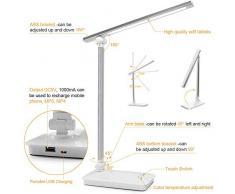 HyAdierTech Lámpara Escritorio LED, Lámpara de Mesa Plegable con Control Táctil, Ajustable con 5 Temperaturas de Color y 3 Niveles de Brillo, para Estudio, Lectura y Relajamiento