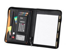 FI 6521 - Carpeta para conferencias (A4, cierre de cremallera por todo el contorno, con calculadora), color negro