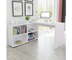 vidaXL Escritorio de Esquina con 4 Estantes Color Blanco de Madera Aglomerada