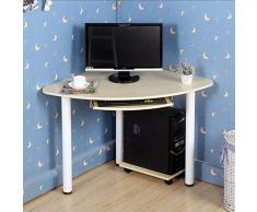 Mesa de madera del escritorio de la computadora del escritorio de la computadora del escritorio del ordenador de la esquina del escritorio de la esquina de madera sólida con el teclado y la bandeja de