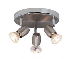 Brilliant G54834/77 Wesley - Lámpara de techo (GU10, 3 focos orientables led de 2,5 W, 220 lm, 3000 K, metal), color gris hierro y cromo