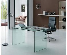 Mesa escritorio cristal curvado, 120x70 cm