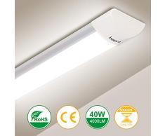 120cm LED Tubo Fluorescente 40W, bapro Luminaria Tubo LED Integrado 4000K Pantalla Led Cocina 4000LM Regleta Led Slim para Armarios, Cabinetes, Cocina y Oficina [Eficiencia Energética A++]