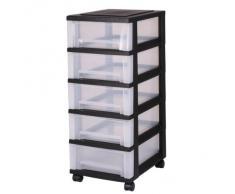 Cajones con ruedas de plástico, Cómoda con 5 cajones, contenedores negros, Pecho 5 cajones, Armedietto con ruedas, armario de plástico, almacenamiento cajón - SDC-005
