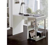 Mesa Escritorio color blanco con estantes regulables de cristal de oficina, despacho o estudio. 100 x 60 x 75