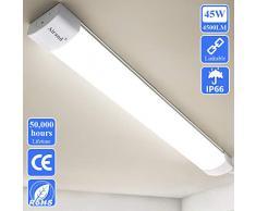 Airand Enlazables Tubos Led 150cm 45W 4500LM Fluorescente Led Lámparas de Taller IP66 Impermeable Luminaria Led Lampara para garaje,sotano,talleres,baño,oficina,cocina,armario