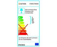 Lámpara de pie Action, 1-techo LAUREL 1 x LED/4 W, 24 x 130 x 24 cm, 4000 Kelvin 420 lm, eficiencia energética de clase a + con función de lectura de la lupa con interruptor, plata 370801700000