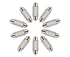 Neuftech® 10 X Bombilla Lámpara 36mm 3 LED 5050 SMD del festoon Luz Interior del Coche ,Blanco