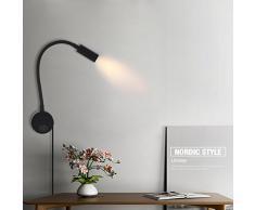 Lámpara de Lectura, LANFU LED 3W Flexible Plegable Regulable Aplique de Pared con Interruptor y Cable de Conexión para Estudio Lectura Cuidado Especial para los Ojos Lámpara de Noche, Negro