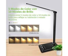AUELEK LáLámpara Escritorio LED, Lámparas de Mesa USB Recargable con Temporizador 52 SMD Leds, 5 * 10 Modos de Brillo, 2000mAh Flexo Escritorio Luz con Diseño Giratorio/Control Táctil (Negro)