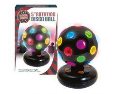 Global Gizmos – 5 pulgadas giratoria funciona con pilas LED de bola de discoteca. De plástico, negro