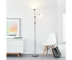 Clásico LED - Lámpara de pie con brazo de lectura, 1 x 10 W E27 LED/1 x 3 W E14 LED Incluye, 810 lúmenes, 2700 K, metal/plástico, plata/blanco