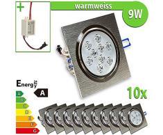 1 x foco de pared bombilla de 9 W escuadra de focos para lámpara de techo empotrable, blanco 9.0|wattsW
