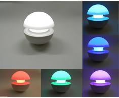 Lámpara bombilla cromoterapia relax relajación para mesita o para leer por las noches, encendido a presión RGB multicolor FUNGO mws1102
