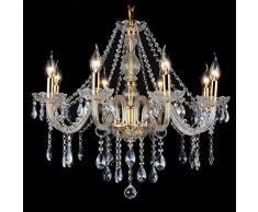 Araña De Cristal Lámpara De Techo De Cristal De Vela Europea Sala De Estar Lámpara con 8 Luces