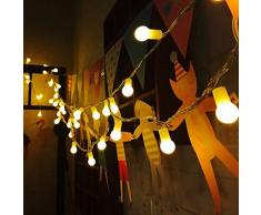 uping® LED luz cadena 100 pelotas AC conector de la UE con 8 programa para fiestas, Jardín, Navidad, Halloween, boda, iluminación decorativa en interiores y exteriores etc. resistente al agua 12 M blanco cálido