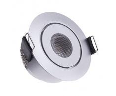 Luz LED empotrada plana Sensati pequeños en plano luz Spot orientable, intensidad regulable, 210 lm, incluye controlador, carcasa de color plateado, luz blanca fría T096 1 CW S
