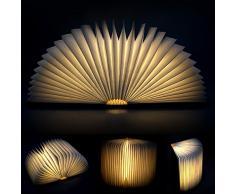 Fodsports LED recargable plegable luz del libro de estilo USB, Plegamiento de madera LED de luz de la noche y LED lámpara plegable del libro, Luz arte, luces decorativas, luces de Escritorio (Blanco cálido)