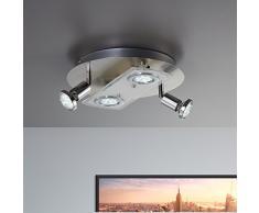 B.K.Licht - Lámpara plafón LED de forma redonda con 4 focos GU10, 2 exteriores giratorios y 2 centrales adecuada para todo tipo de habitaciones, 3W y 250 lúmenes, 3000K, color níquel mate