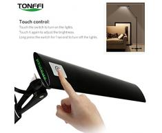 tonffi – Lámpara LED de pie Bombilla Regulable 8 W 420lm Interruptor táctil (antirreflejante 5 niveles de brillo negro Salón Lámpara, metal, negro 8.00 wattsW 220.00 voltsV