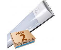 Led Atomant (LA) Pack 2X Pantalla Carcasa Tubo Integrado, 40 W, Color Blanco Neutro 4500K, 120 cm. Equivalente a 2 Tubos Fluorescentes de 36w, 3300 lumenes Reales Regleta Led Slim T8, 36