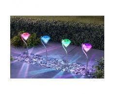 Mason & Jones - Luces solares para jardín, diseño de estaca con diamante, 4 unidades