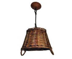 Lámpara rústica con canasto de mimbre. Diámetro 35 cm