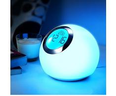 Maclean Energy MCE114 - Lámpara nocturna táctil cambio de colores Reloj con despertador
