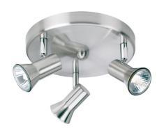 Firstlight 6093BS Magnum - Lámpara de techo con 3 luces (acero cepillado, GU10, 50 W, 240 V), diseño circular