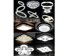 Lámpara LED de techo 2036 con mando a distancia y colour de la luz/brillo ajustable de acrílico-pantalla lacada en blanco de metal perforado con diseño de clase de eficiencia energética: a+