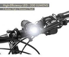 Juego de Luces para Bicicleta - Luces LED Súper Brillantes para su Bicicleta - Fácil Montaje del Faro Delantero y la luz Trasera con Sistema de Liberación Rápida - Mejor Iluminación Frontal y Trasera - Se Adapta a Todas las Bicicletas - 200 lúmenes
