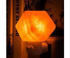 Alaman Lámpara de sal del Himalaya,Natural cristal de del Himalaya - Lámpara de sal con enchufes de pared para purificación de aire, iluminación y decoración (15 W)