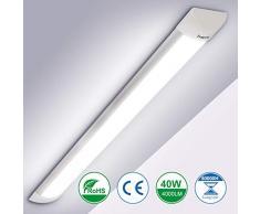 40W Tubo Fluorescente LED 120CM, bapro Luminaria Tubo LED Integrado 6500K Pantalla Led Cocina 4000LM Regleta Led Slim para Armarios, Cabinetes, Cocina y Oficina [Eficiencia Energética A++]