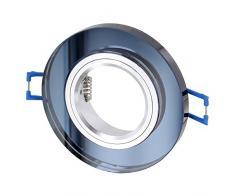 Marco para foco empotrable de cristal GU10 MR16 redondo – Con cierre de Clic – incl. montura GU10, negro y plateado