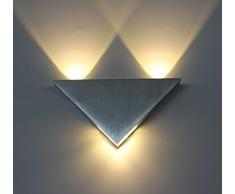 Apliques de Pared Interior LED Diseño Moderno 3W Lámpara Aluminio de Color Plata Decoración para Salón Pasillo Escalera Dormitorio Baño y Balcón 165 * 85 * 30mm