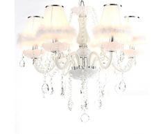 Romántica princesa habitación cristal araña de plumas Fashion sala de estar colgante luces de dormitorio lámpara de techo