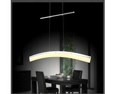 LED 20 W lámpara de techo colgante SD8361-01A regulable en altura de techo de cromo, con pantalla de acrílico, longitud de 100 cm de ancho y 7,5 cm, altura 150 cm 3000 K luz blanca cálida 1200 lumens