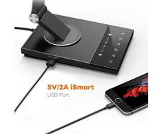 TaoTronics Lámpara Escritorio LED USB 12W Flexo Oficina con USB 5V/ 2A iSmart( 5 Temperaturas de Color, 6 niveles de Brillo, Función de Memoria / Configuración Favorita, Temporizador 60 minutos, luz nocturna) Cuerpo de Metal