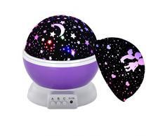 Proyector de Luz Nocturna WEINAS® 360 Grados de Rotación Lámpara de Proyección de Cielo Estrella Luna con Varios Modos Iluminación de Ambiente Decoración Romántica para Dormitorio Habitación de Niños/Bebés, Regalo de Navidad/Fiestas
