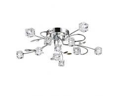 Moderno LED Lámpara de techo Cristal Pantalla de lámpara Cromo Lámparas de araña para Dormitorio Sala Cocina Comedor Cuarto de niños Iluminación Flor Candelabro, D65CM 11*G4 Bombilla incl, 11 luces