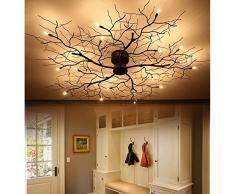 American 9/15 lámpara de techo LED de dormitorio de hierro forjado nórdico led rama de luz de techo comedor ligniting luz de techo ZA8186 LU9 ( Size : 15head )