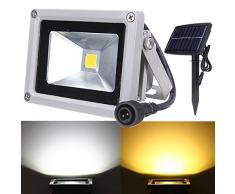 Bluelover Foco Energía Solar 10W de inundación del LED luz paisaje al aire libreimpermeable blanco