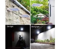Lámpara solar Luces Jardín 42 LED solares exterior foco led sensor de movimiento 2 Piezas 6000KImpermeable iluminación vial blanco luz del Inalámbricas camino, valla, Cubierta, Patio, garaje