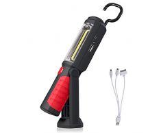 LIVEHITOP Recargable Linterna de Trabajo, Portátil Lampara de Inspeccion 3W COB LED Luz con Magnético Soporte y Gancho Colgante para Automóviles, Taller, Emergencia, Camping (Rojo)