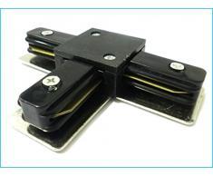 Conectores para uniones de raíles de focos LED Un binario Modelo T Color Negro