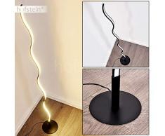 Lámpara de pie LED Dillon metal negro, lámpara de pie para dormitorio, salón - Esta lámpara de pie tiene un interruptor de pie en el cable